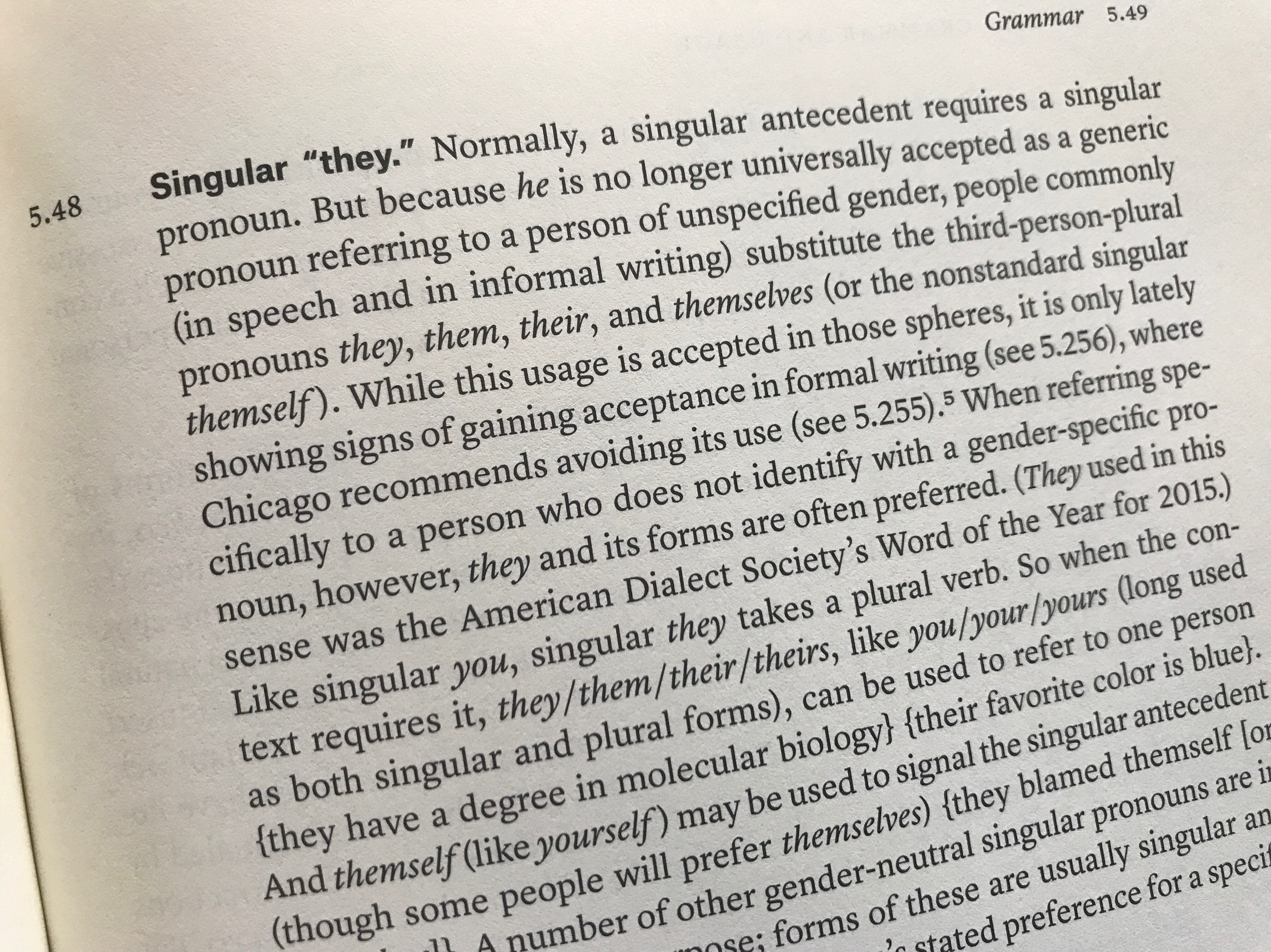 """Image showing Chicago Manual of Style entry (5.48) on singular """"they."""""""