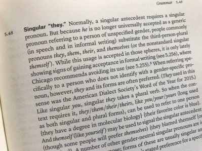 "Image showing Chicago Manual of Style entry (5.48) on singular ""they."""